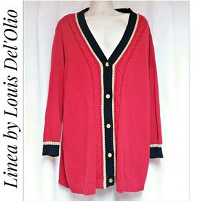 Louis Del'Olio Blue Gold Red Cardigan Size 1X